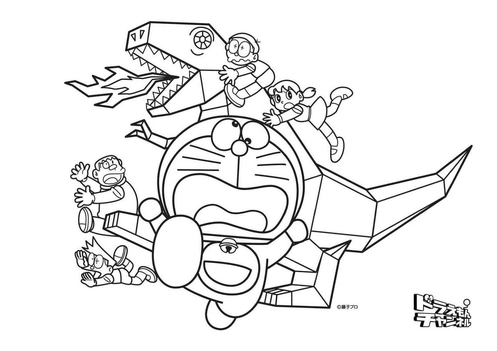 Kumpulan Mewarnai Gambar Doraemon Pemandangan Kartun Masjid Mobil Boneka