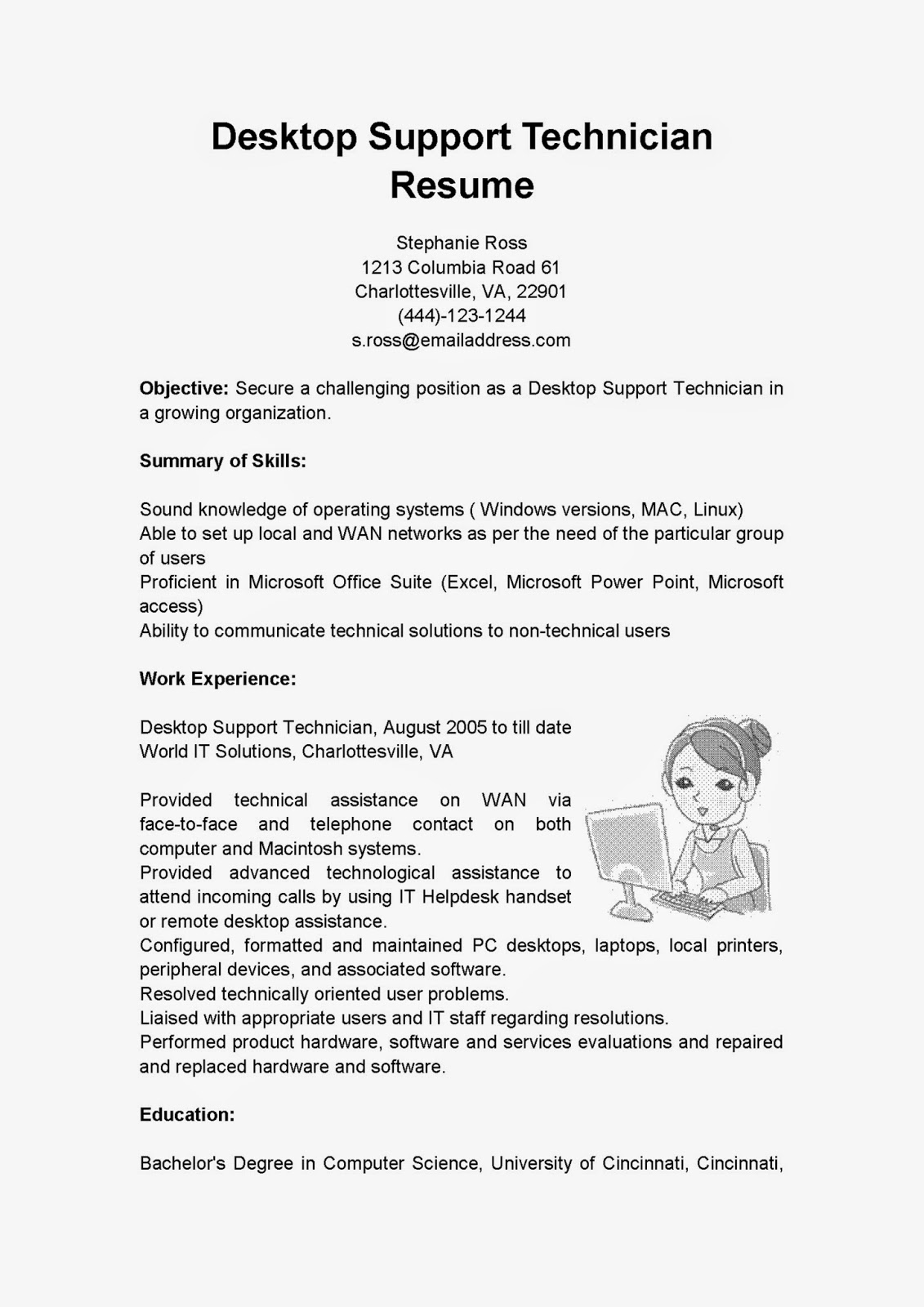 Resume samples desktop support technician resume sample for Sample cover letter for computer technician job