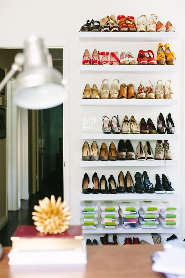 Shoes on floating shelves.