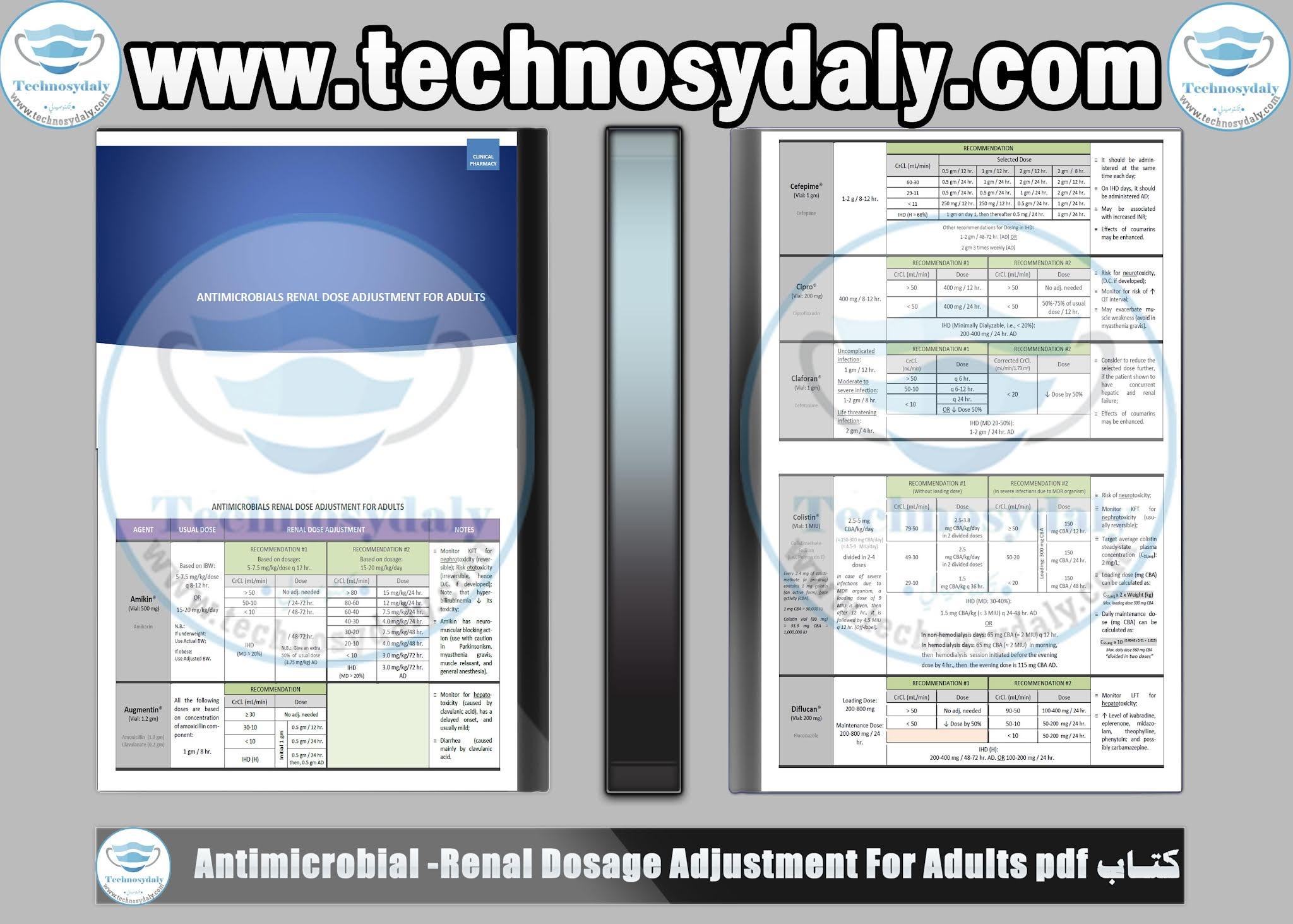 كتاب Antimicrobial -Renal Dosage Adjustment For Adults pdf