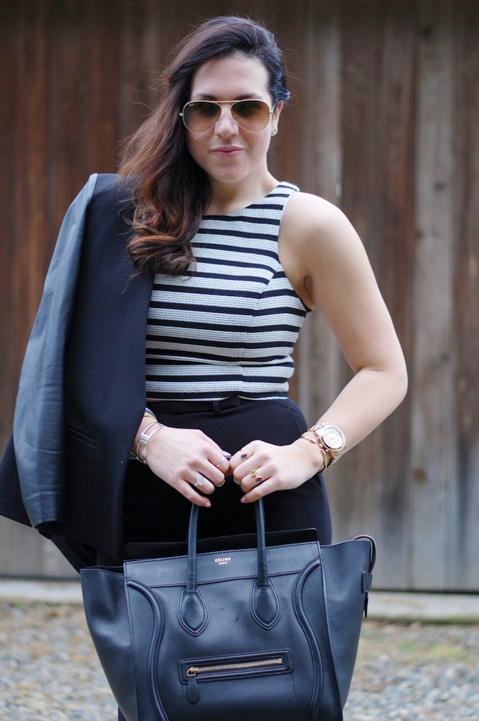 Express crop top and a Celine Mini Luggage Tote Vancouver fashion blogger Aleesha Harris of Covet and Acquire