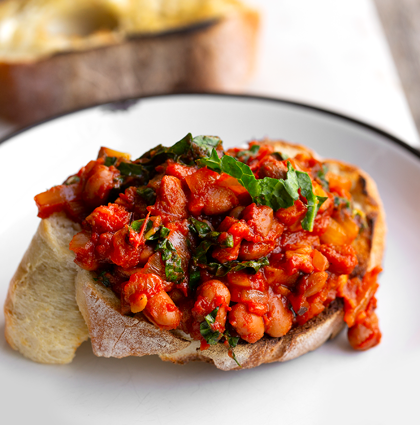 Baked Beans on Toast with Mushrooms