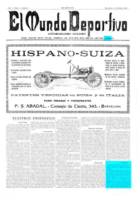 """Portada """"El Mundo Deportivo"""", Edició del dijous 1 febrer de 1906, Pàgina 1"""