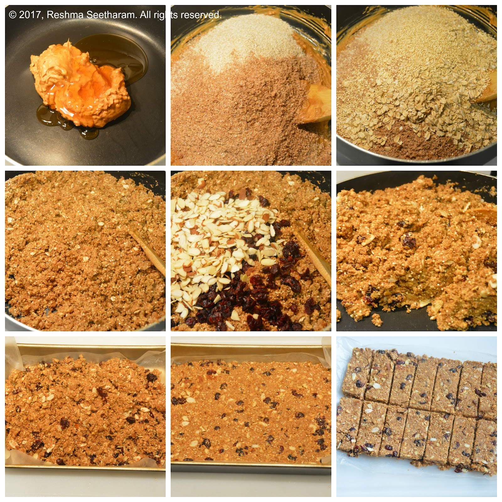 ... they melt together, add the roasted bran, quinoa and oats; Combine