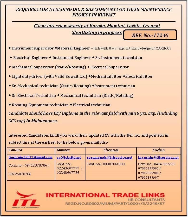 Oil and gas job vacancies: KOC NORTH KUWAIT MAINTENANCE