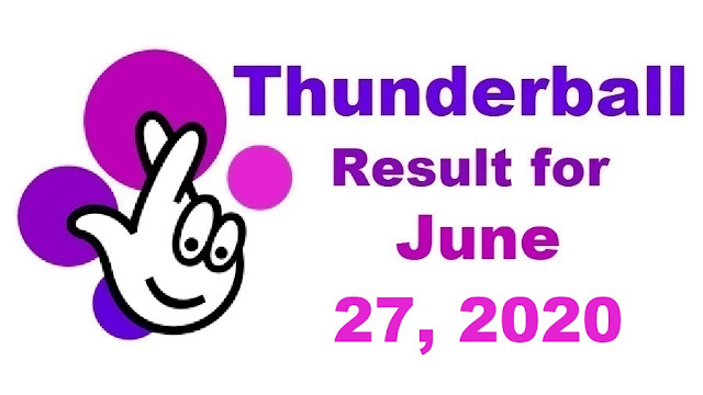 Thunderball Results for Saturday, June 27, 2020