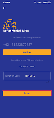 cara daftar Mitra dari aplikasi Fifada Android