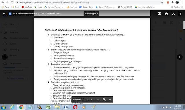 Contoh Soal Ujian Madrasah (UM) PPKN MTs