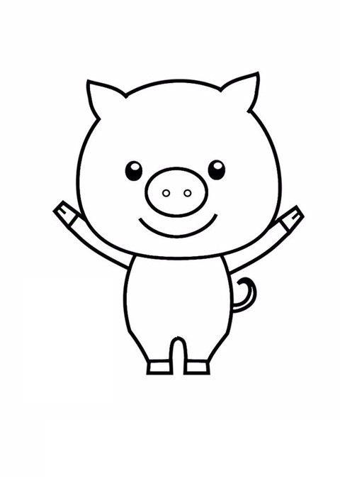 Tranh tô màu con lợn đơn giản