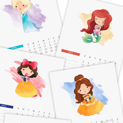 free 2017 princess calendar
