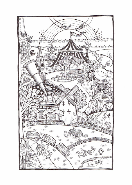 A pen and ink humorous memory doodle drawing picture of the Wirral Peninsula, Moreton, Moreton Cross, Bidston Hill with windmill and observatory, farm, wildlife sanctuary, lighthouse and River Mersey as well as the circus and animals