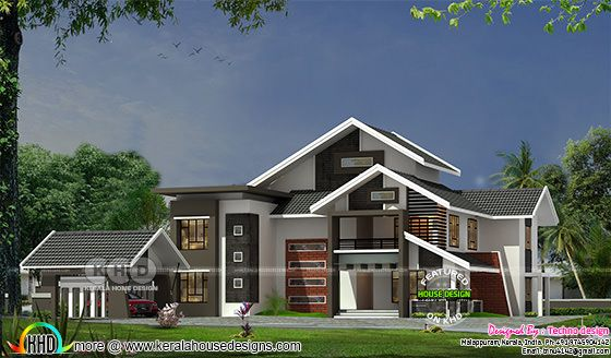 2375 sq-ft 4 bedroom slanting roof