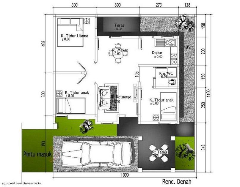 denah rumah ukuran 10x12 m yang bagus