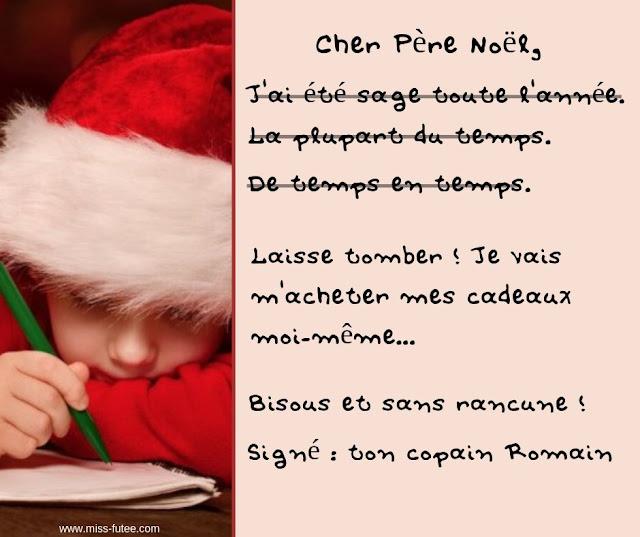 Enfant sage et lettre au père Noël