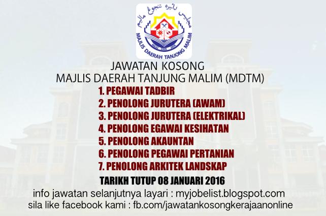 Jawatan Kosong Di Majlis Daerah Tanjung Malim Mdtm 08 Januari 2016