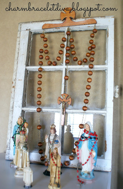 vintage oversized rosary wall art