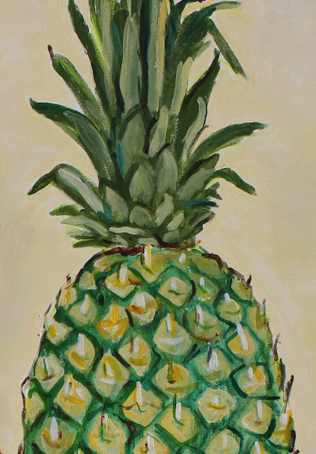 still-life, pineapple, sarah, myers, vase, pear, oranges, acrylic, painting, fruit, ceramic, exuberant, amy, myers, canvas, large, shapes, round, earthenware, terracotta, contemporary, art, arte, kunst, pintura, maleri, natura, morte, figurative, classical, representative, bright, detail, close-up, leaves, top