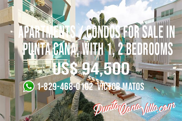 Apartments / condos for Sale in Punta Cana, with 1, 2 bedrooms