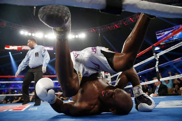 Bradley rolled over the floor after getting clipped by Pacquiao.