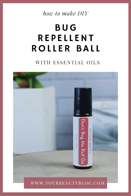 How to make a DIY bug repellent roller ball. This is a natural essential oil blend for skin to apply when you'll be outside.  This uses two essential oils to naturally repel mosquitoes and other bugs.  Make an easy homemade bottle of EO to apply to repel bugs. Use lemongrass and clove to repel bugs outside. #essentialiols #diy #bugrepellent #mosquito #natural