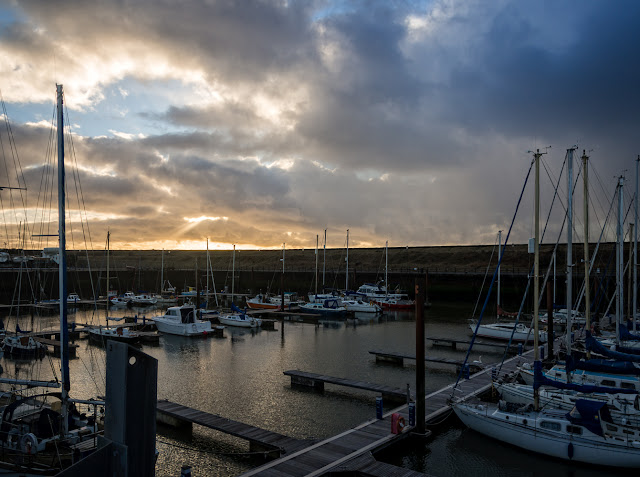 Photo of Maryport Marina just before the snow arrived on Tuesday afternoon