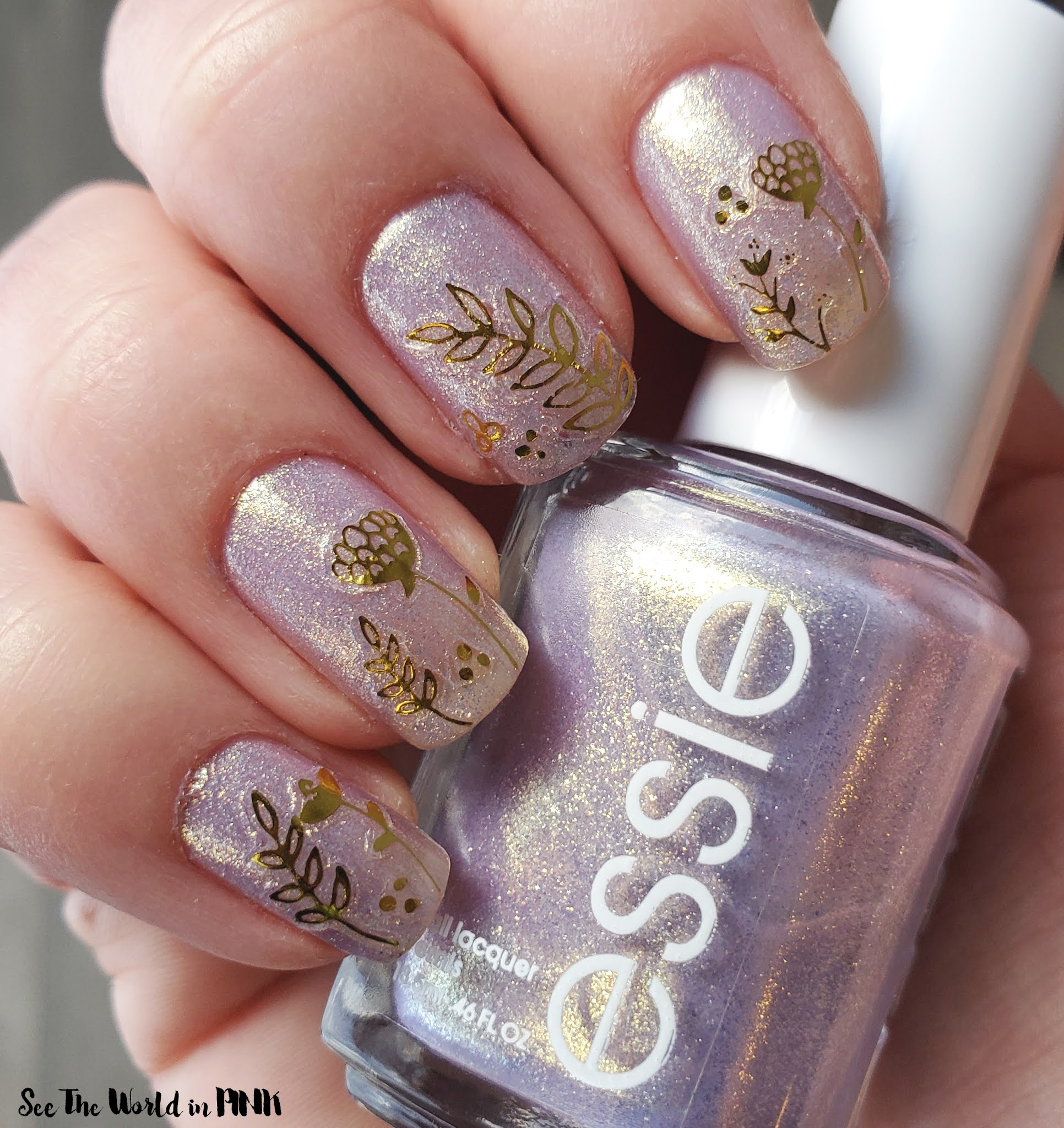 Manicure Monday - Essie Sugarplum Fairytale Polish + Gold Accents