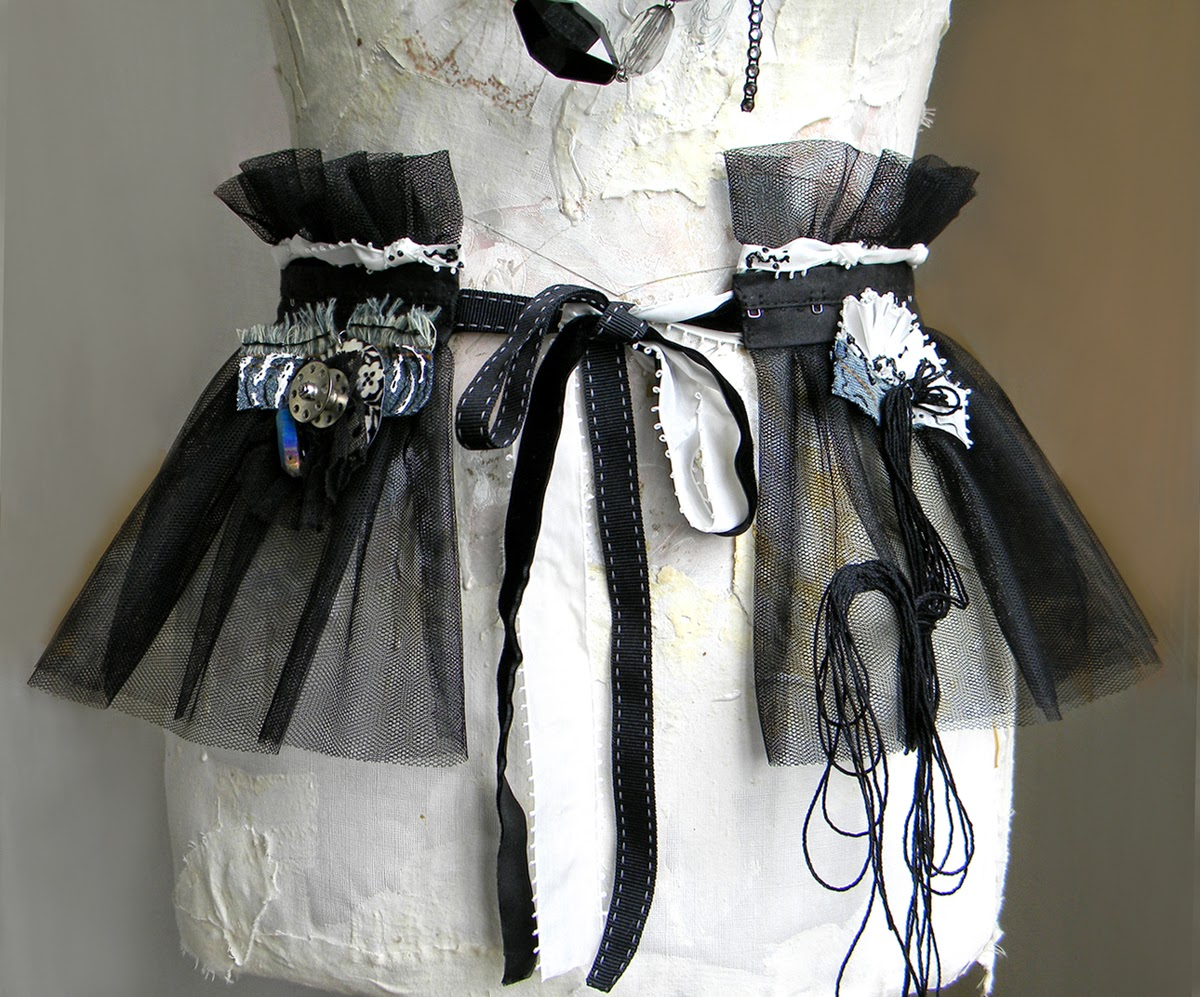 Black and white Goth Bustle Skirt and Ruffled Waist Belt
