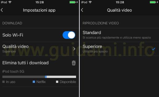 App Netflix iOS Anroid Impostazioni e Qualità download video