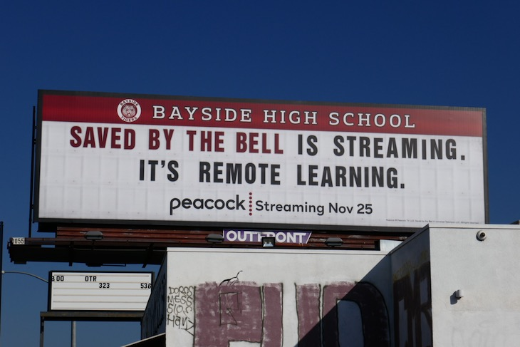 Saved by the Bell remote learning billboard