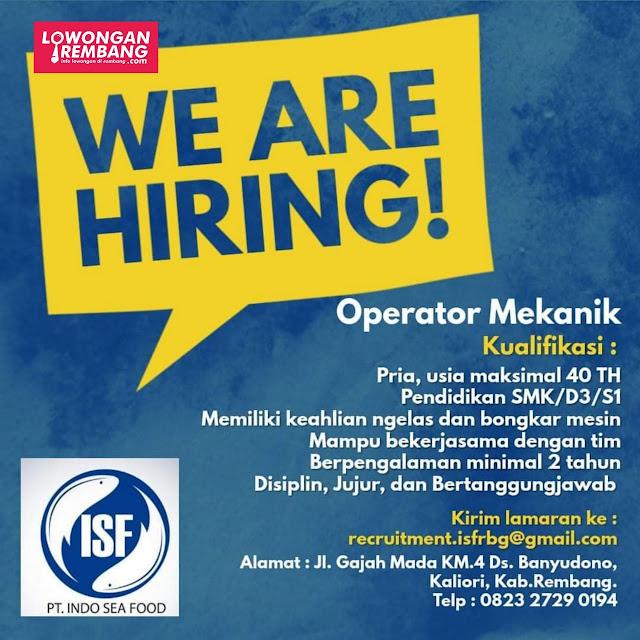Lowongan Kerja Operator Mekanik PT Indo Sea Food Rembang