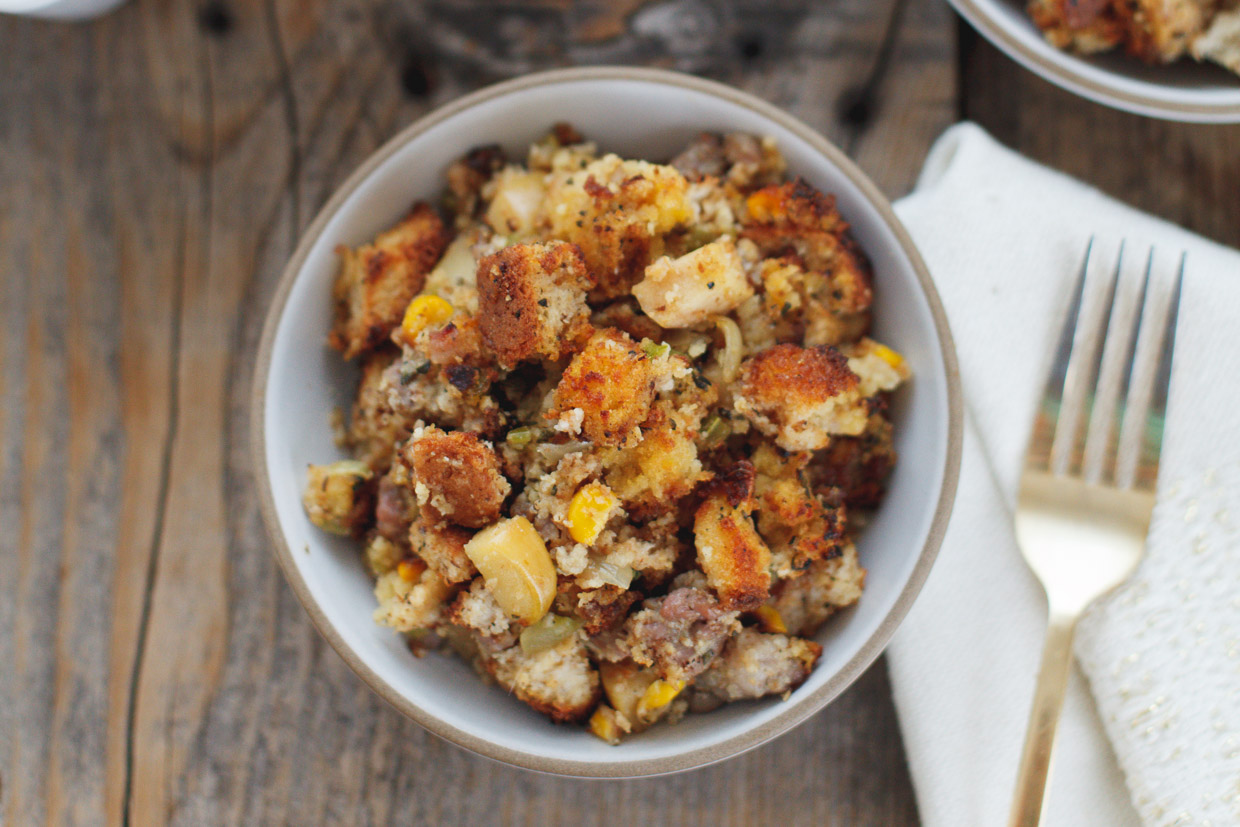 Sausage and Apple Cornbread Stuffing (Gluten Free) by Snixy Kitchen