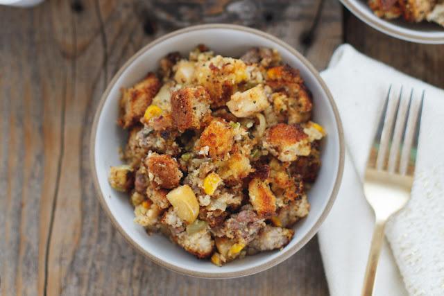 Sausage and Apple Cornbread Stuffing (Gluten Free) by Snixy Kitchen