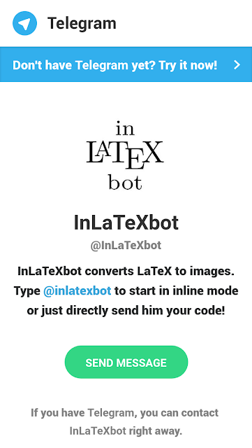 Abrir InLaTexbot para o Telegram