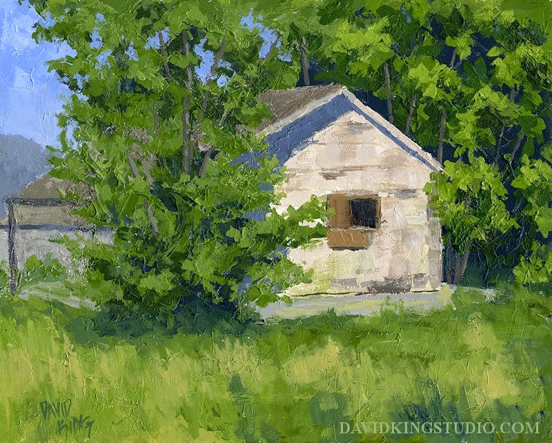 art painting palette knife acrylic house abandoned vegetation