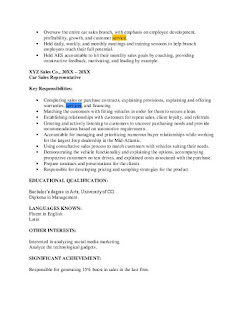 Car Sales Resume Examples