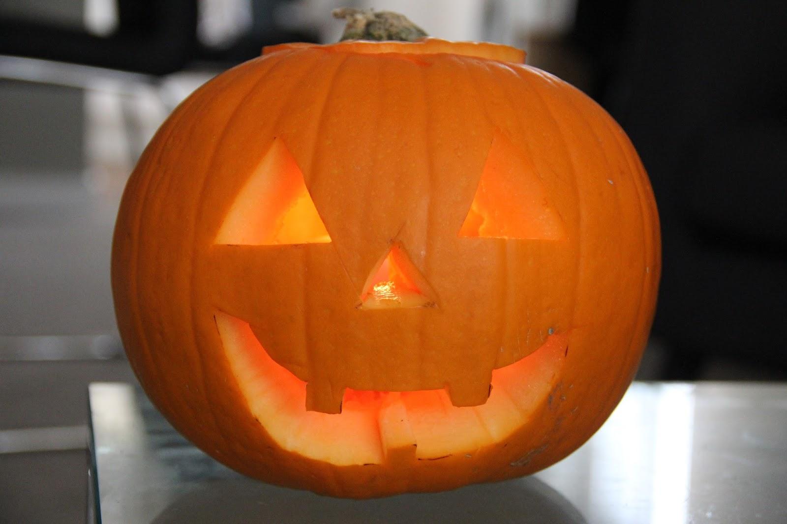 The freshly carved pumpkin.