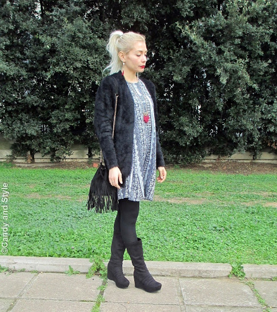 Tunic Dress - Fuzzy Cardigan - Fringed Bucket Bag