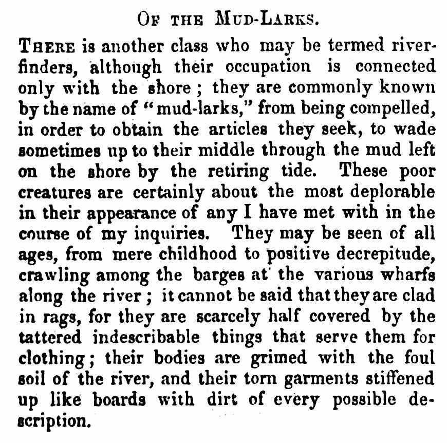 1861 London mud-larks, a description of poverty