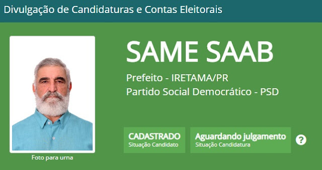 Iretama: Same Saab também já foi cadastrado no site Divulgacand