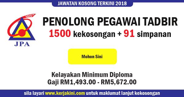 jawatan kosong jabatan perkhidmatan awam 2018