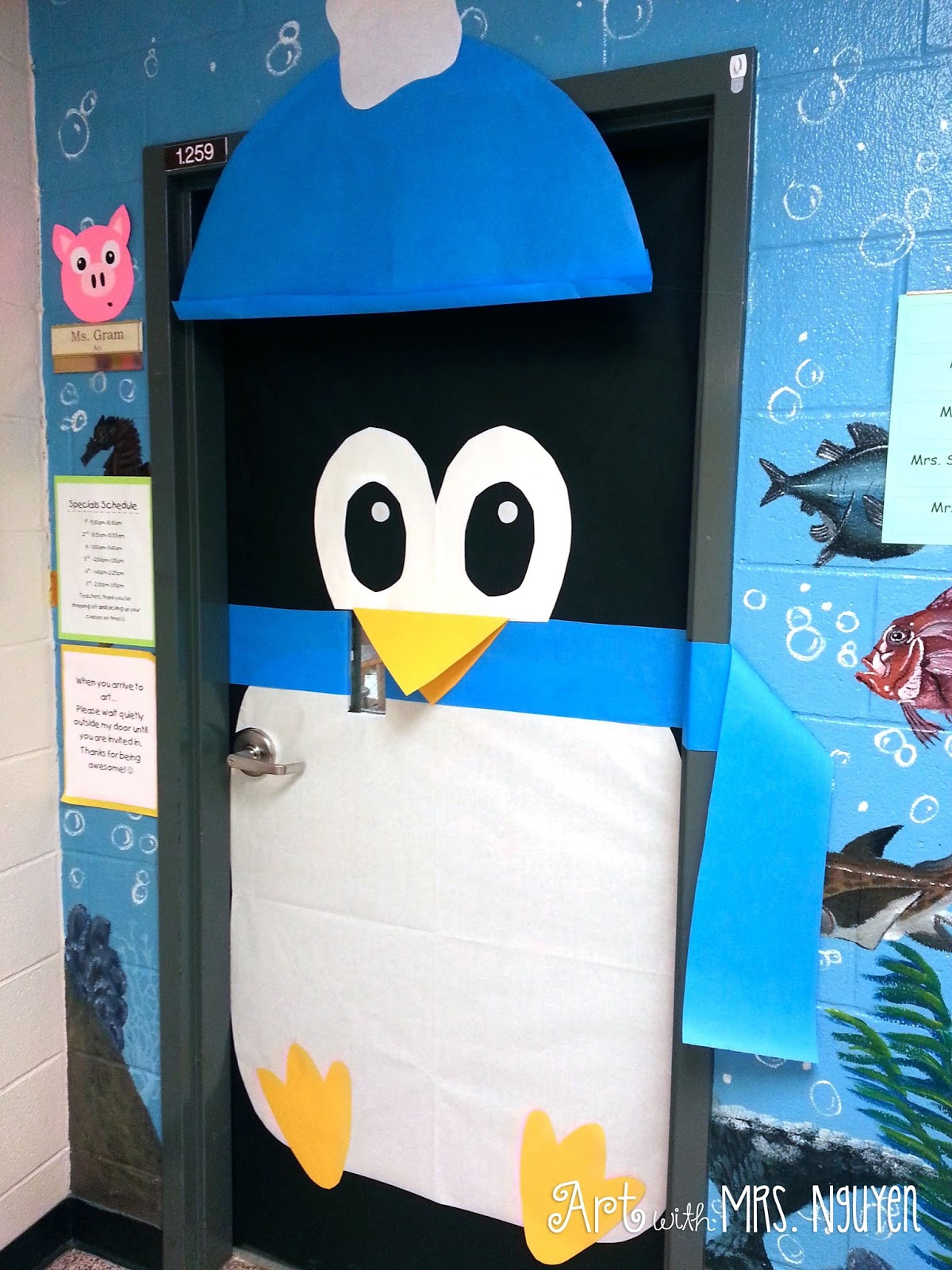 Winter Classroom Idea ~ Holiday decorated classroom doors art with mrs nguyen