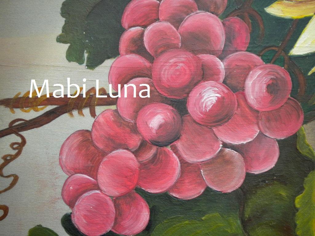 Mabi Luna Bandeja Con Flores De Madera Pintada A Mano