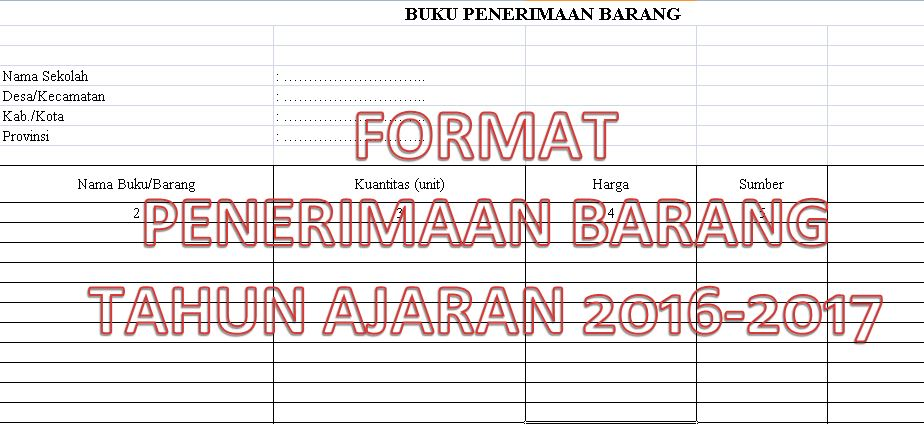 Contoh Format Perincian Penerimaan Barang Inventaris Sekolah Tahun Ajaran 2016-2017 dengan Microsoft Excel