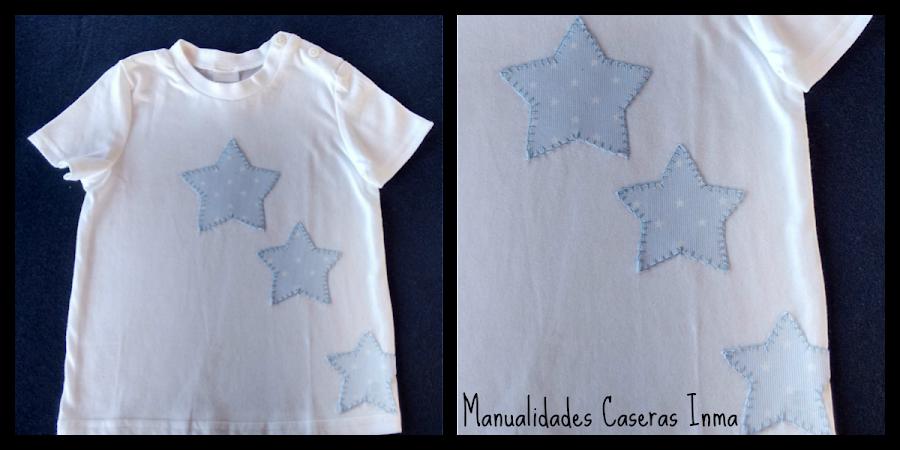 Manualidades Caseras Inma camiseta para bebé con estrellas