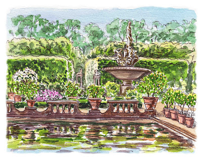 Boboli Garden Fountain Watercolor painting by Irina Sztukowski