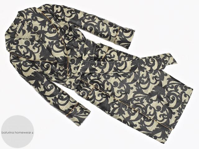 Mens black paisley robe cotton dressing gown smoking jacket vintage english gentleman