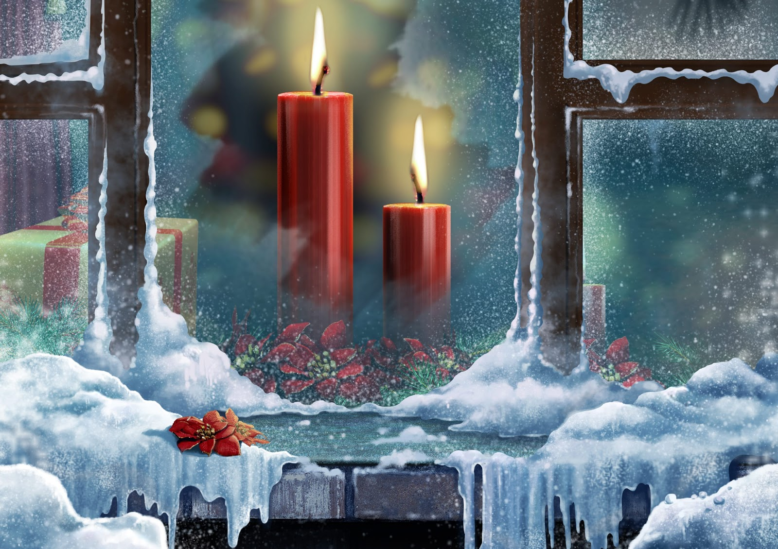 candele rosse, finestra, neve, ghiaccio, vetro