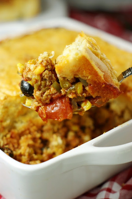 15+ Dinner Recipes with Ground Beef - Tamale Pie Casserole Image