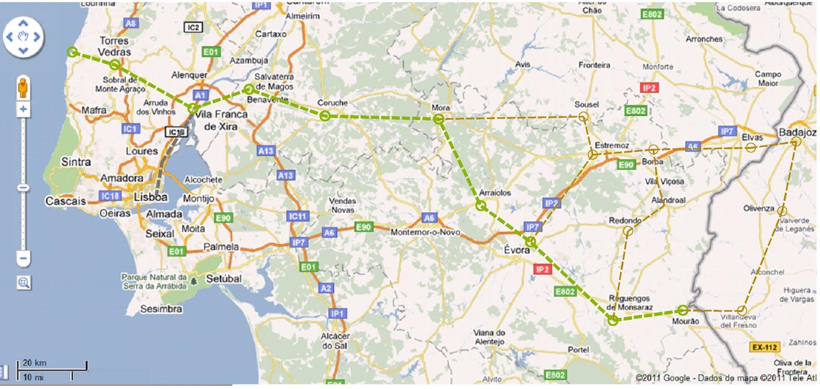 monsaraz mapa Ecovias de Portugal: Mapas e Rotas monsaraz mapa