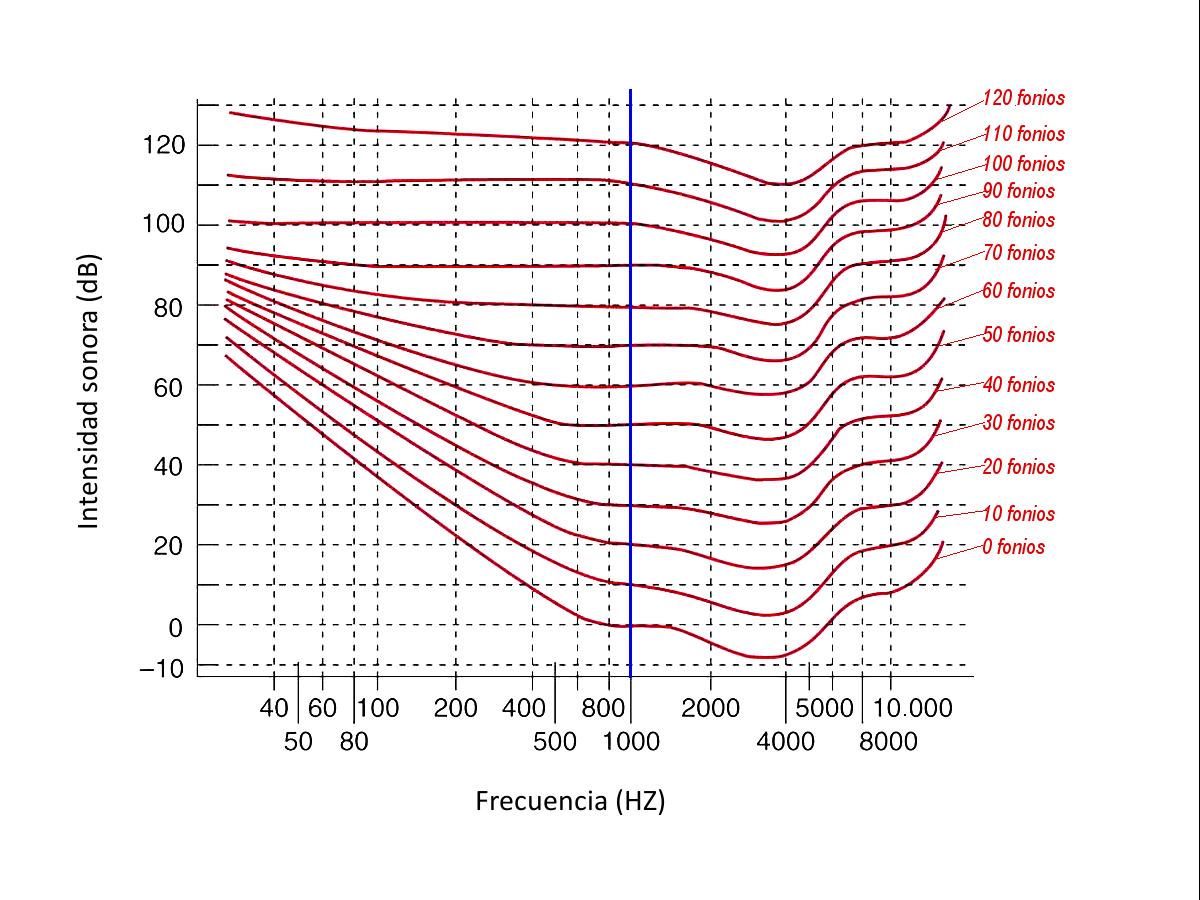 Figura 3. Gráficas de la percepción del volumen sonoro en las diferentes frecuencias